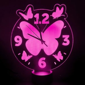 led lamp klok vlinders roze